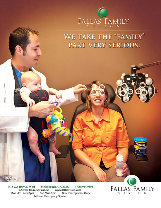 Local eye doctor magazine ad