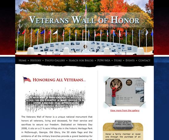 Veterans Wall website
